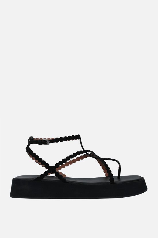 ALAIA: suede flatform sandals Color Black_1