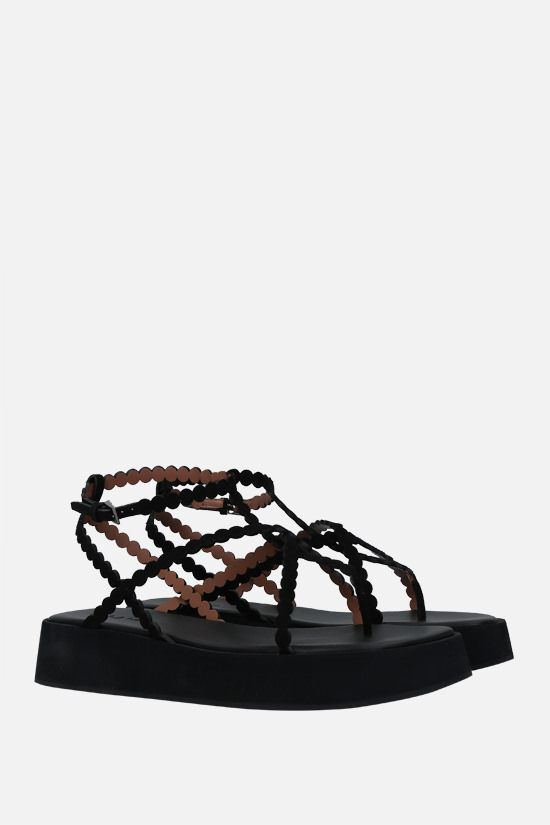 ALAIA: suede flatform sandals Color Black_2