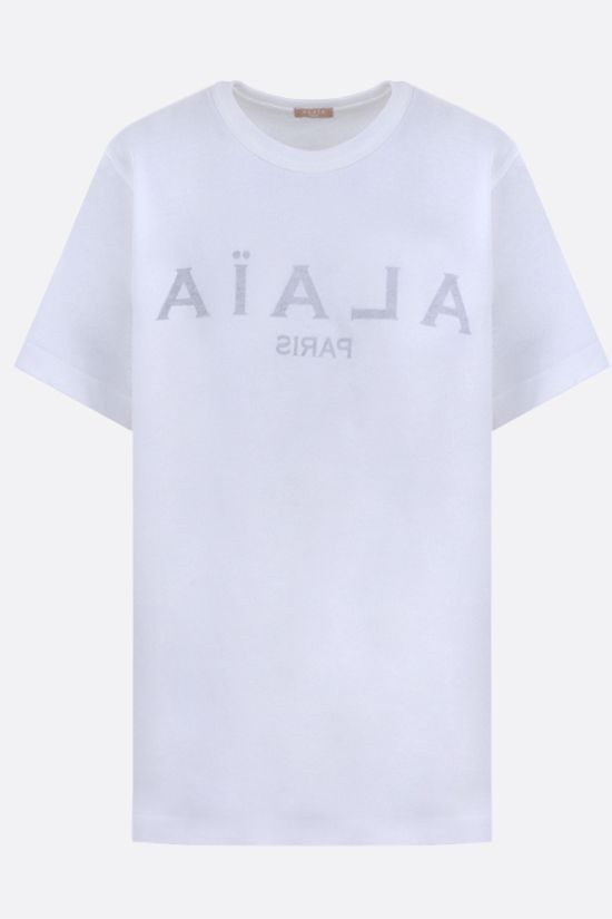 ALAIA: Alaia Paris print cotton t-shirt Color White_1
