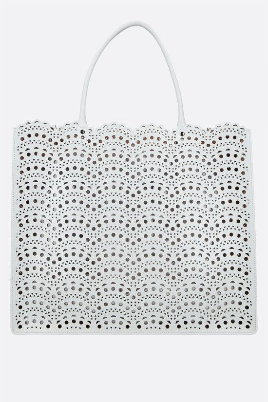 ALAIA: Garance 36 laser-cut leather tote bag Color White_1