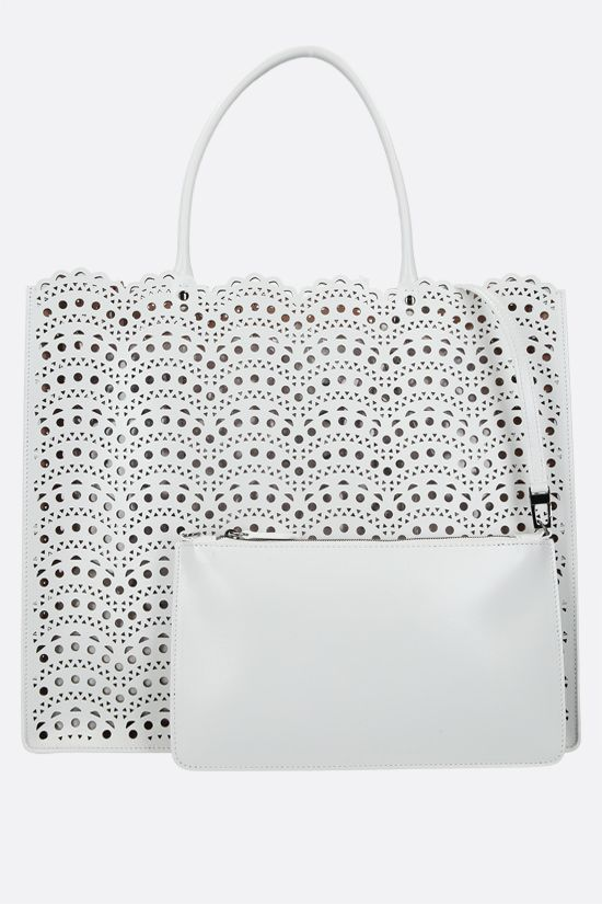 ALAIA: Garance 36 laser-cut leather tote bag Color White_2
