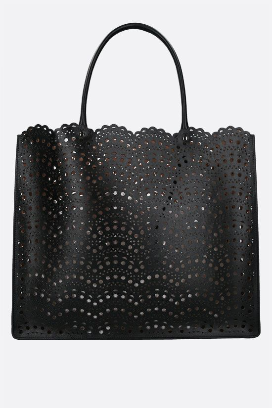 ALAIA: Garance 36 laser-cut leather tote bag Color Black_1