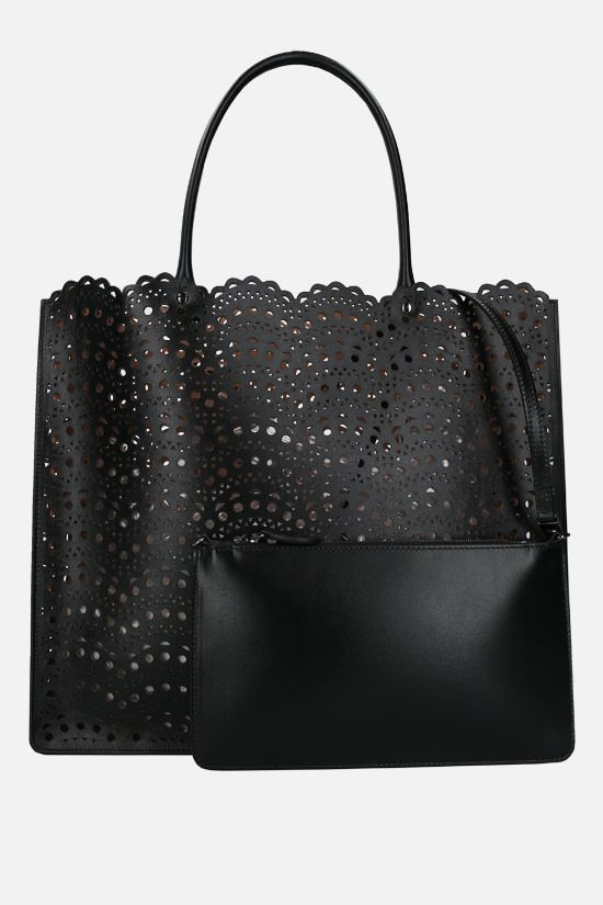 ALAIA: Garance 36 laser-cut leather tote bag Color Black_2
