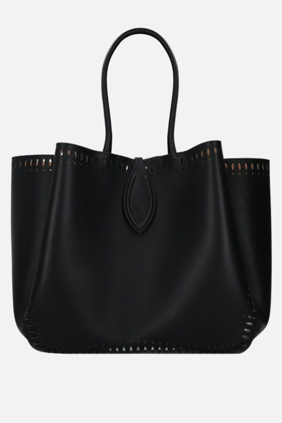 ALAIA: Angèle large smooth leather shoulder bag Color Black_1