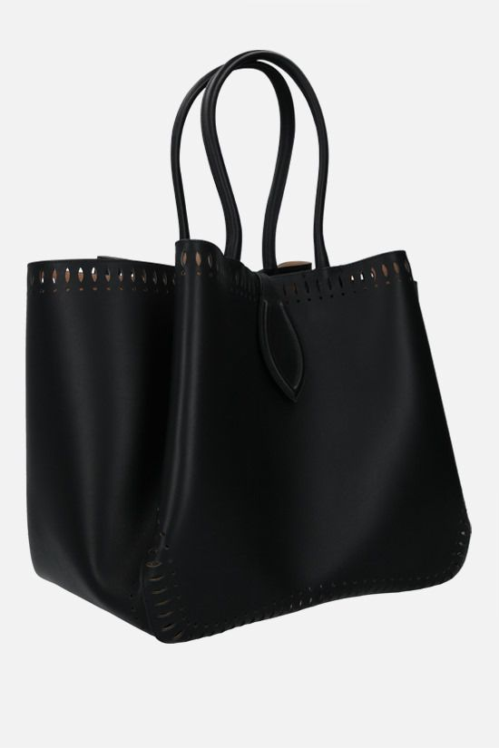 ALAIA: Angèle large smooth leather shoulder bag Color Black_2