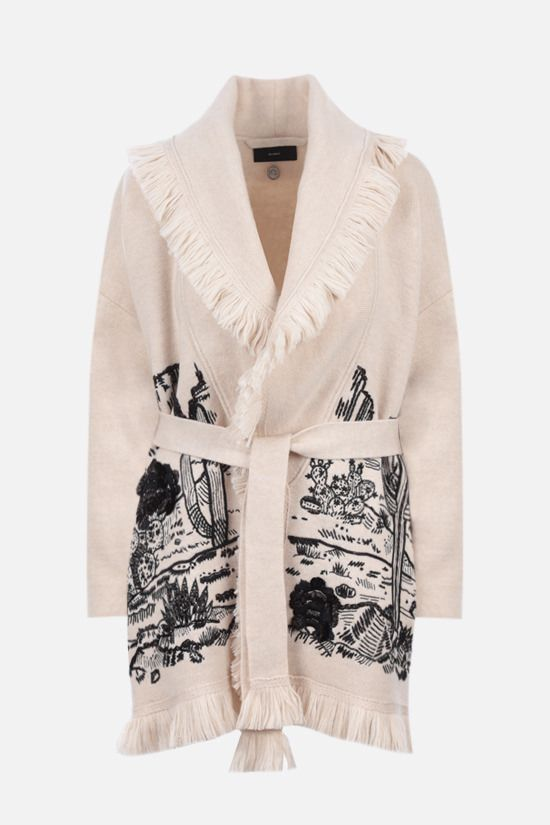 ALANUI: The Shaded Canyon oversize wool cardigan Color White_1