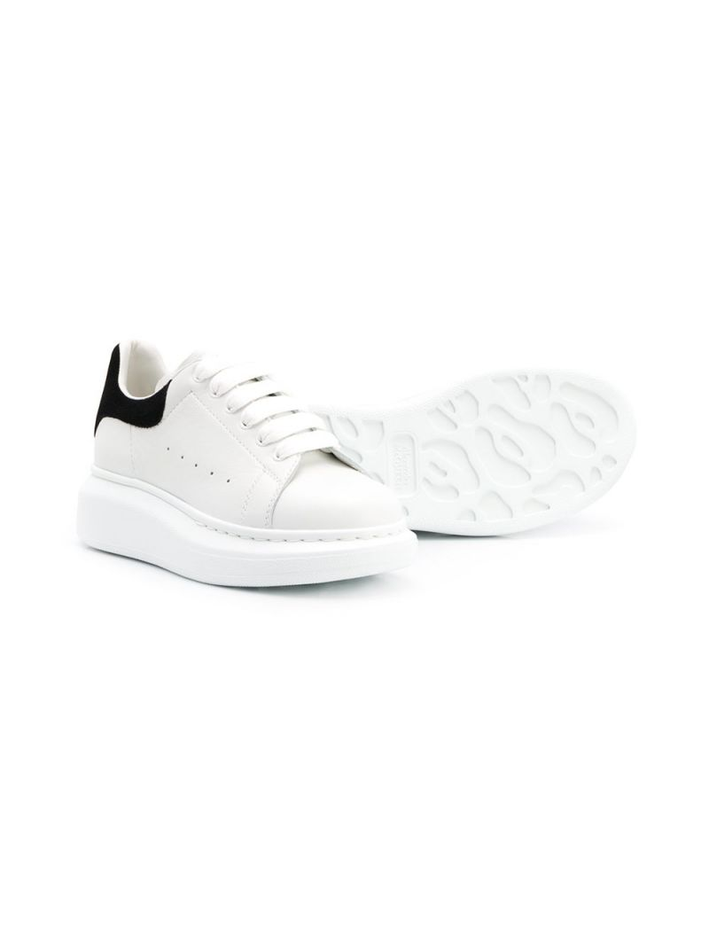 ALEXANDER McQUEEN KIDS: Oversize smooth leather sneakers Color Grey_2
