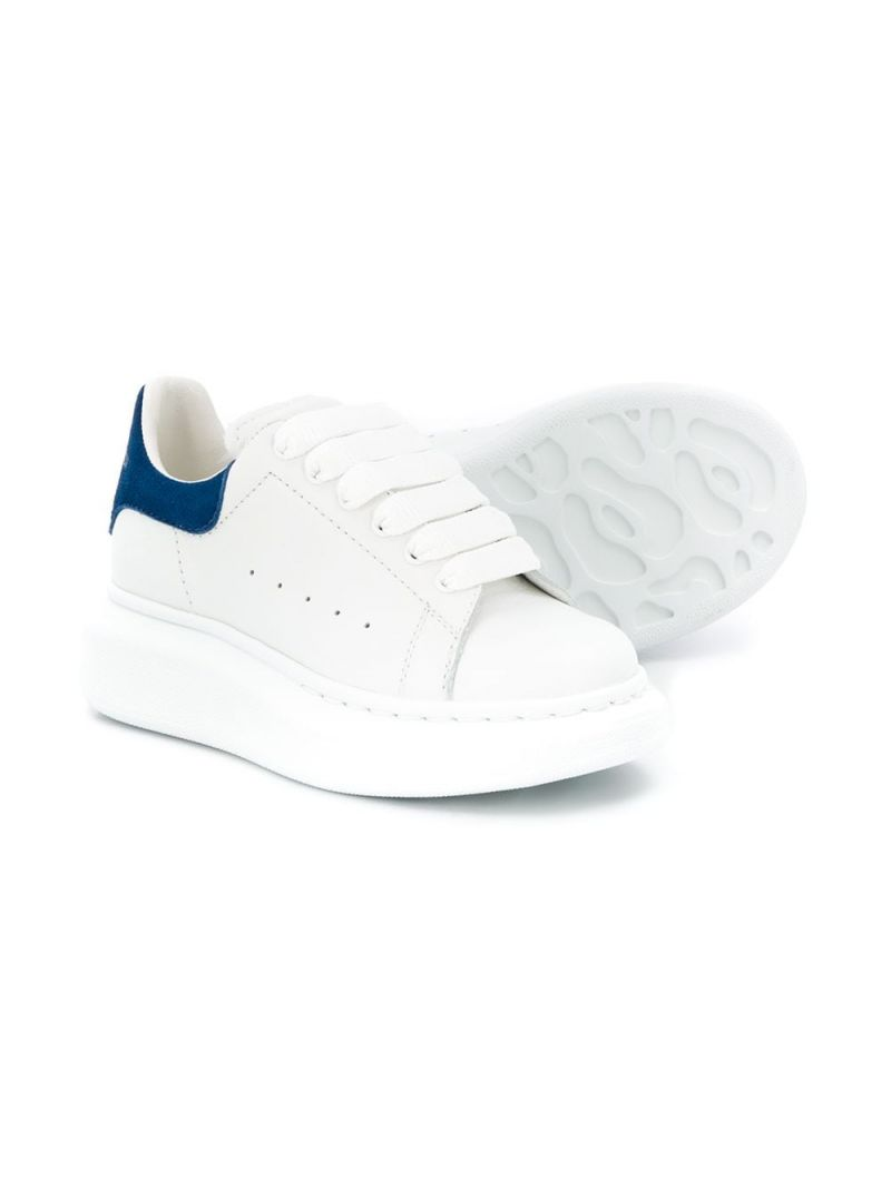 ALEXANDER McQUEEN KIDS: Oversize smooth leather sneakers Color White_2