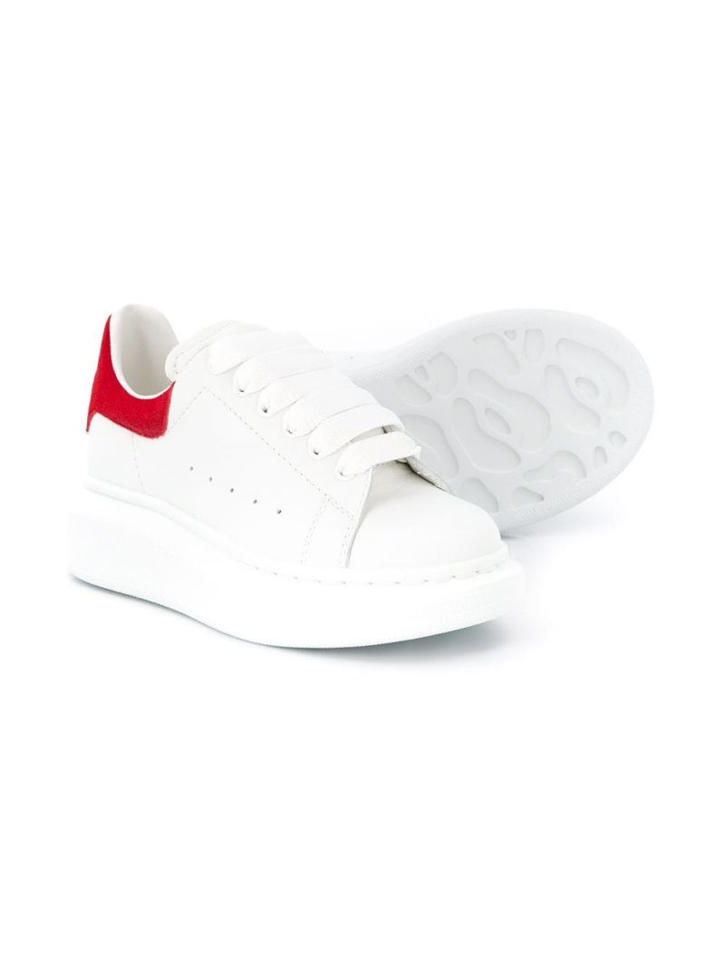 ALEXANDER McQUEEN KIDS: Oversize smooth leather sneakers Color Multicolor_2