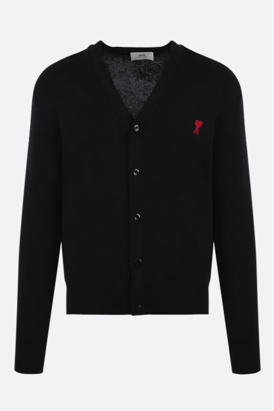 AMI PARIS: Ami de Coeur merino wool cardigan Color Black_1