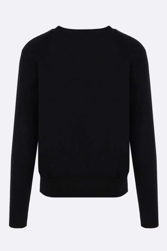 AMI PARIS: Ami de Coeur merino wool cardigan Color Black_2