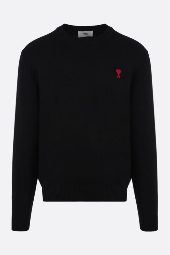 AMI PARIS: Ami de Coeur merino wool pullover Color Black_1