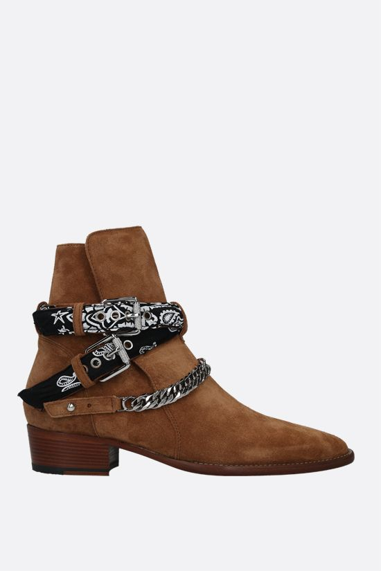 AMIRI: Bandana Buckle suede western boots Color Brown_1