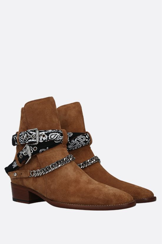 AMIRI: Bandana Buckle suede western boots Color Brown_2