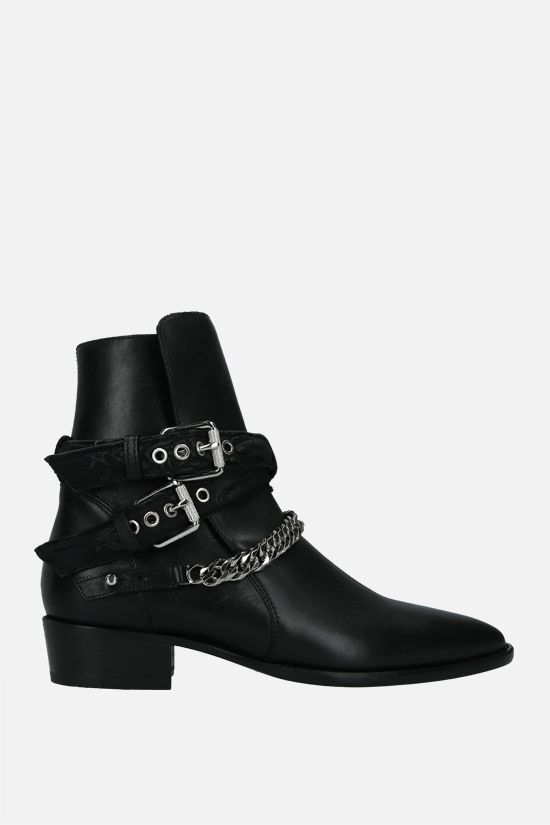 AMIRI: Bandana Buckle smooth leather western boots Color Black_1