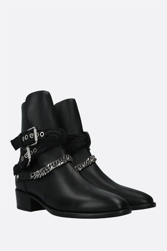 AMIRI: Bandana Buckle smooth leather western boots Color Black_2
