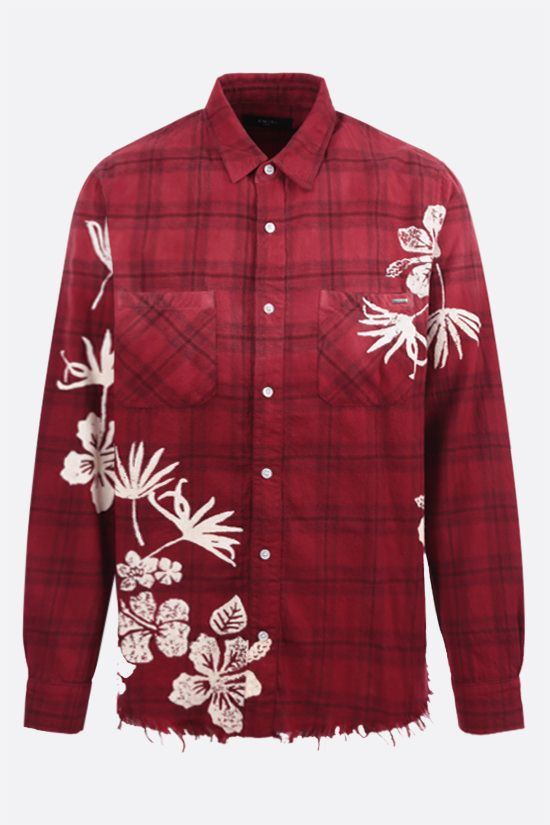 AMIRI: Bleach Floral flannel shirt Color Red_1