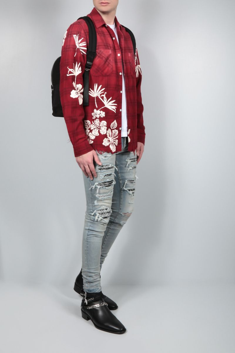 AMIRI: Bleach Floral flannel shirt Color Red_2