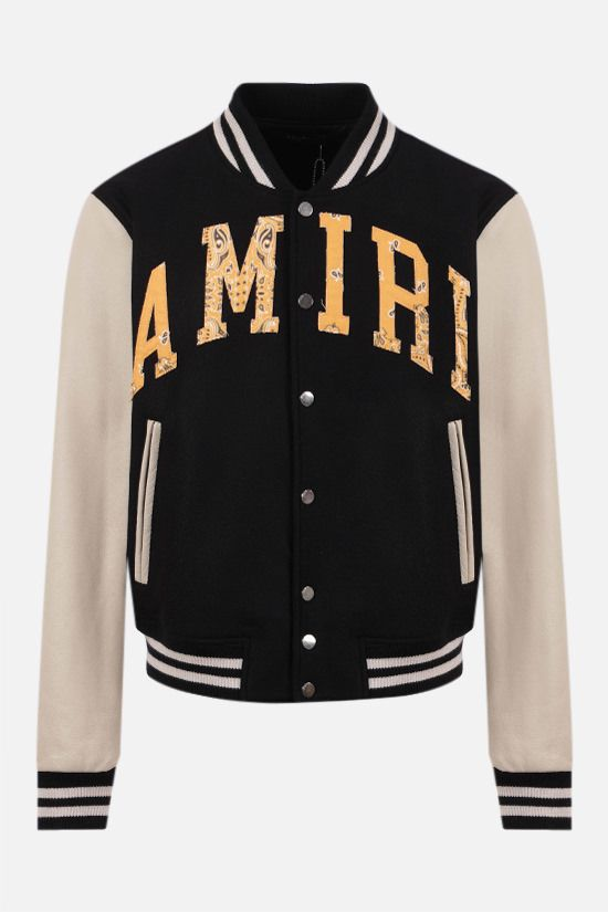 AMIRI: Amiri Varsity technical wool and leather bomber jacket Color Black_1