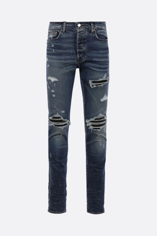 AMIRI: MX1 Suede skinny jeans Color Blue_1