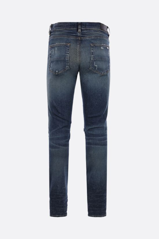 AMIRI: MX1 Suede skinny jeans Color Blue_2