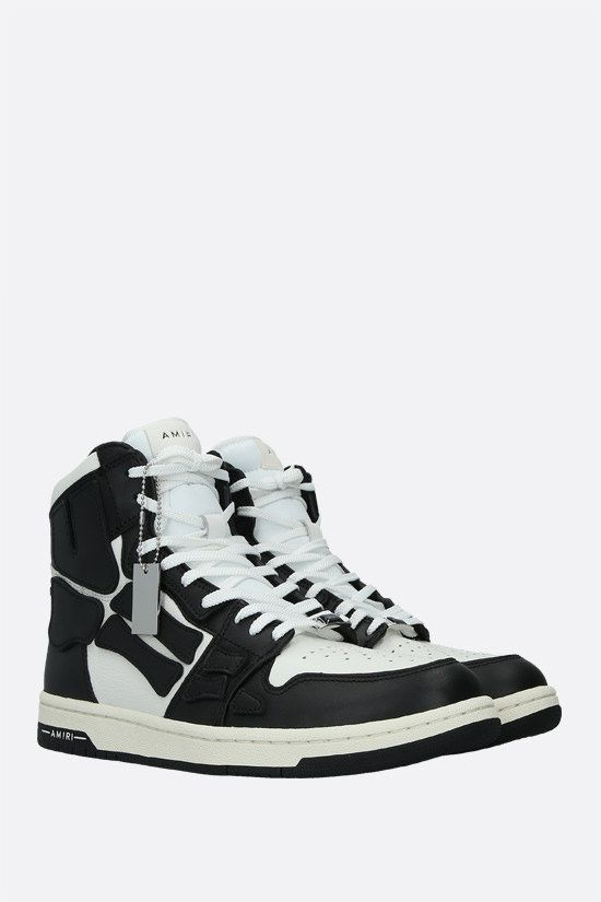 AMIRI: Skel smooth and grainy leather high-top sneakers Color Black_2
