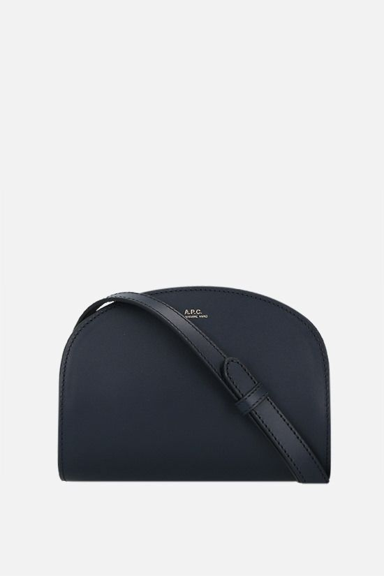 A.P.C.: Demi-Lune mini smooth leather crossbody bag Color Blue_1