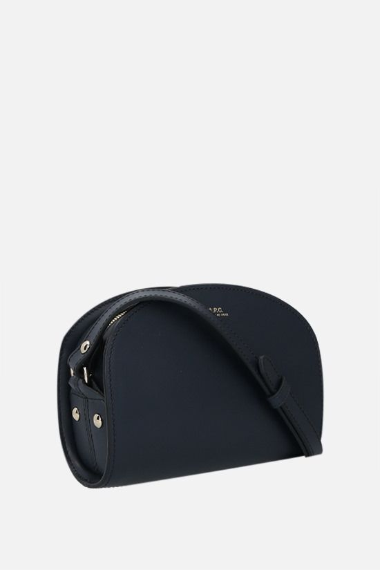 A.P.C.: Demi-Lune mini smooth leather crossbody bag Color Blue_2
