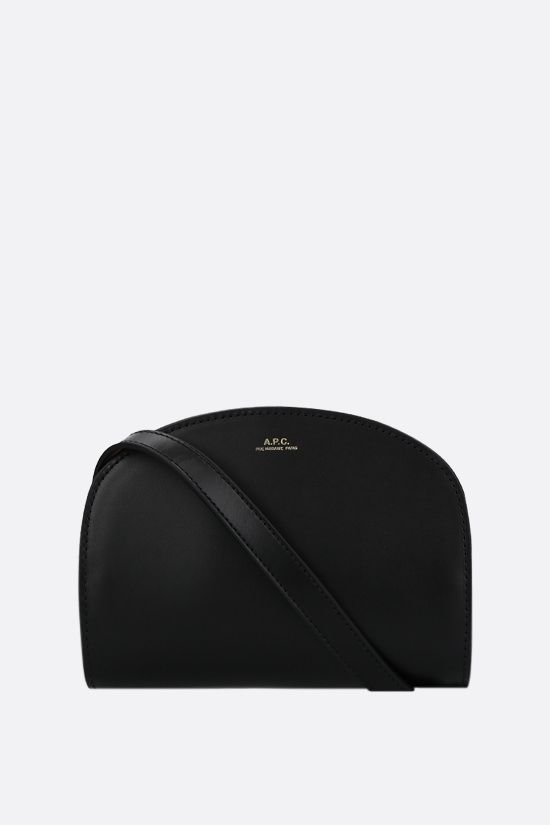 A.P.C.: Demi-Lune mini smooth leather crossbody bag Color Black_1