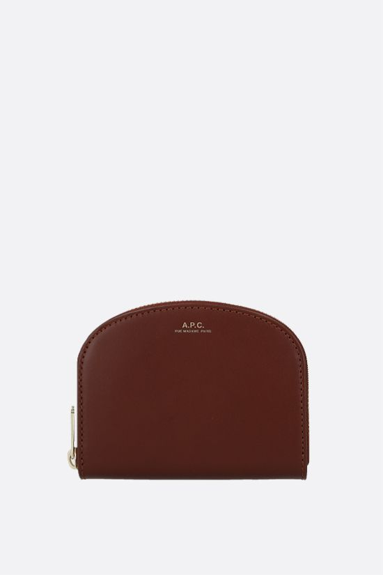 A.P.C.: Demi-Lune smooth leather wallet Color Brown_1