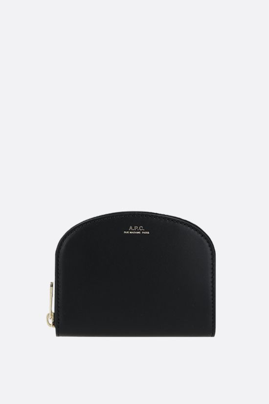 A.P.C.: Demi-Lune smooth leather wallet Color Black_1