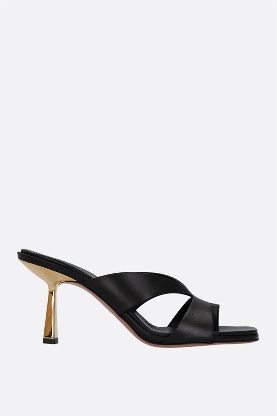 AQUAZZURA: Trish soft nappa mule sandals Color Black_1