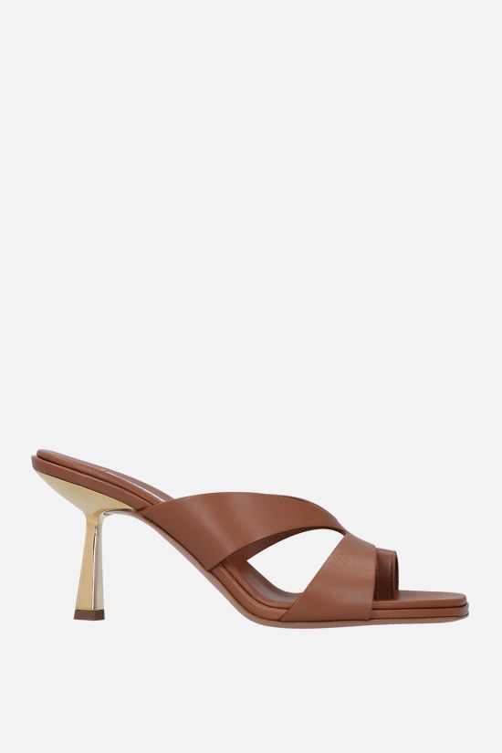 AQUAZZURA: Trish soft nappa mule sandals Color Brown_1