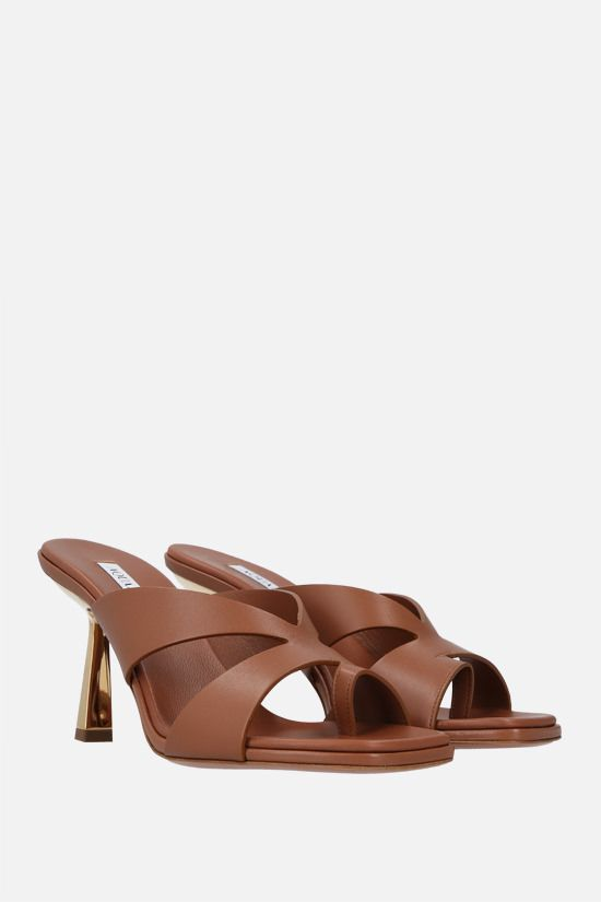 AQUAZZURA: Trish soft nappa mule sandals Color Brown_2