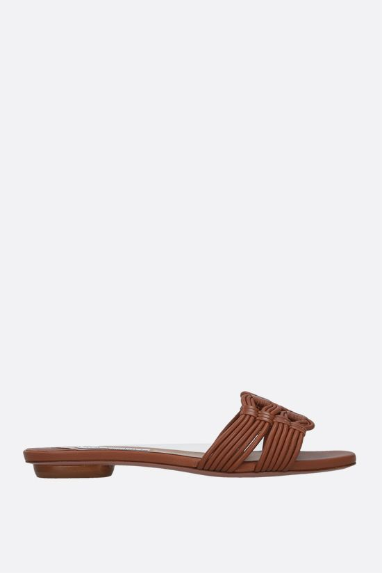 AQUAZZURA: sandalo slide Noah in nappa Colore Marrone_1