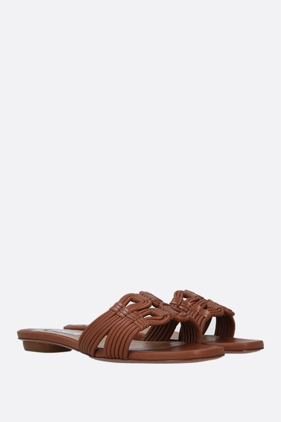 AQUAZZURA: sandalo slide Noah in nappa Colore Marrone_2