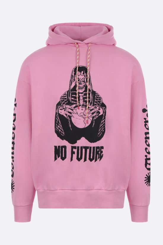 ARIES: No Future print cotton hoodie Color Pink_1