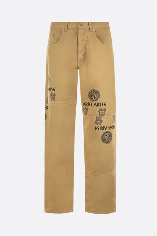 ARIES: Coin Coloumn print jeans Color Brown_1