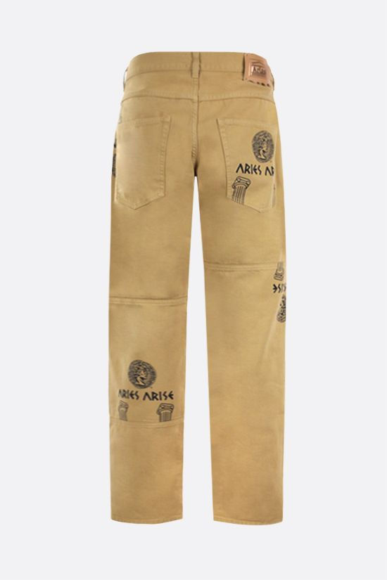 ARIES: Coin Coloumn print jeans Color Brown_2