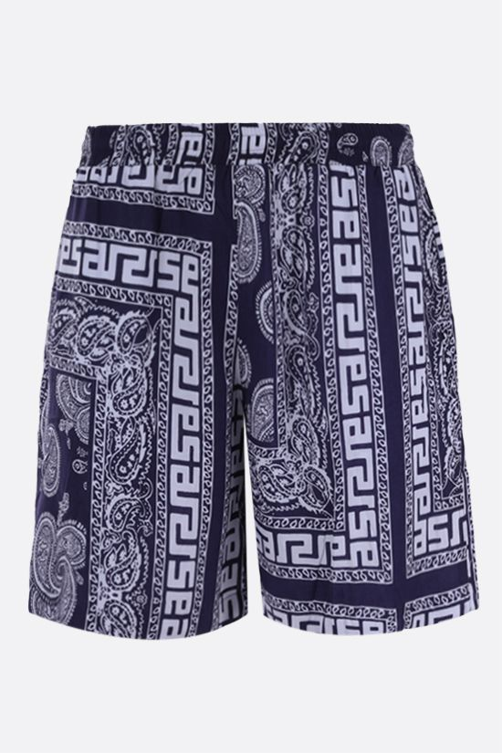 ARIES: Bandana print poplin shorts Color Blue_1