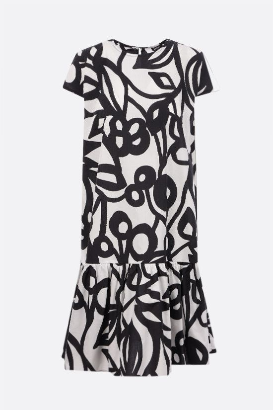 ASPESI: graphic print cotton short dress Color Black_1