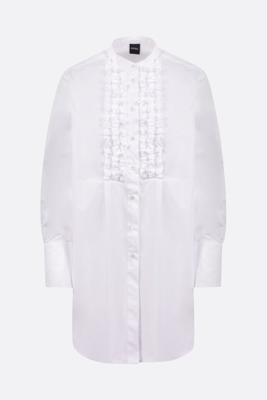 ASPESI: bib-detailed cotton longuette shirt Color White_1