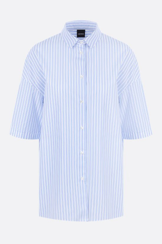 ASPESI: striped poplin bowling shirt Color Blue_1