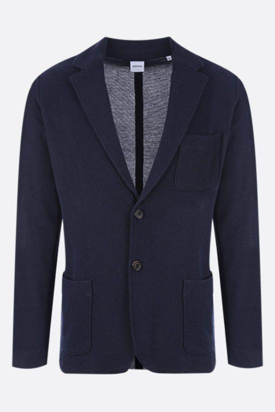 ASPESI: single-breasted knit jacket Color Blue_1