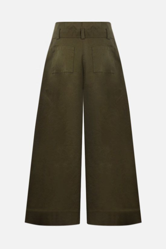 ASPESI: belt-detailed cotton cropped pants Color Green_2