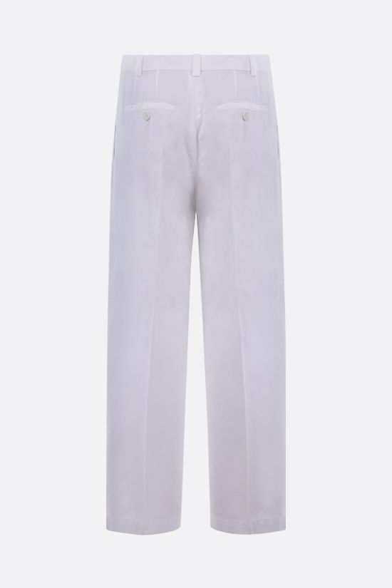 ASPESI: cotton linen blend cropped pants Color White_2