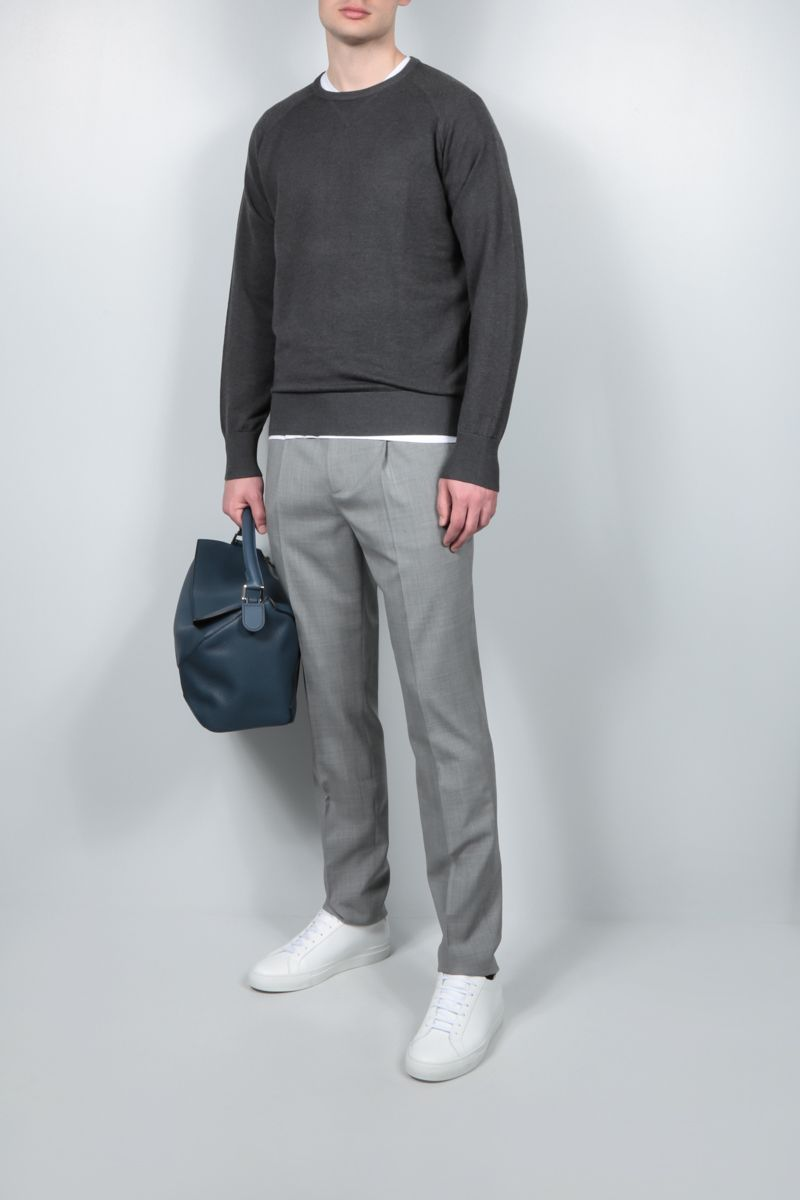 ASPESI: silk cashmere blend pullover Color Grey_2