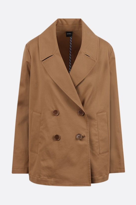 ASPESI: double-breasted stretch cotton overcoat Color Brown_1
