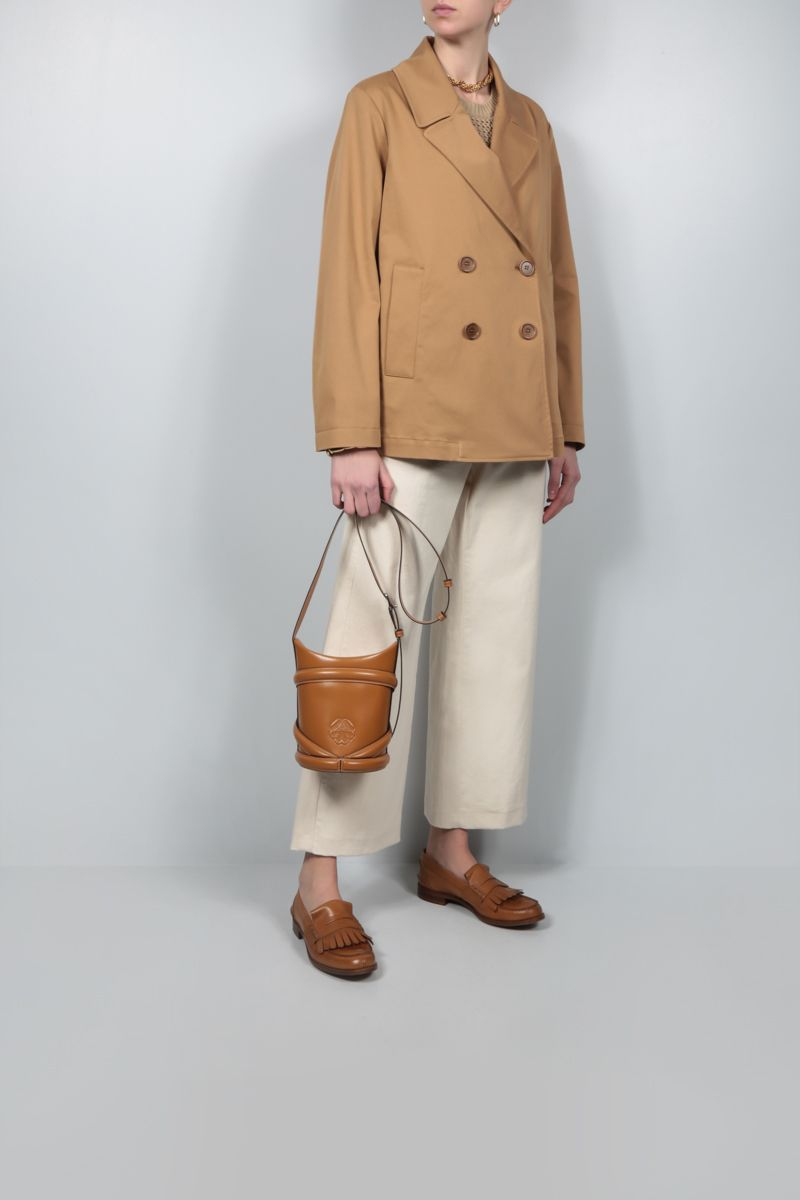 ASPESI: double-breasted stretch cotton overcoat Color Brown_2