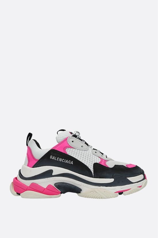 BALENCIAGA: Triple S smooth leather and mesh trainers Color Multicolor_1